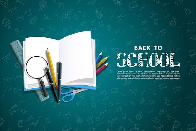 Ritorno a scuola con libri e altro materiale scolastico