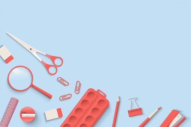 Di nuovo a scuola con le illustrazioni degli strumenti della scuola colorati rossi su un fondo blu luminoso.