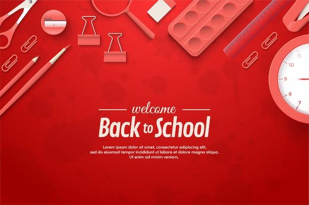 Ritorno a scuola con illustrazioni di strumenti scolastici rossi.