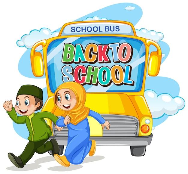 Ritorno a scuola con carattere studentesco musulmano