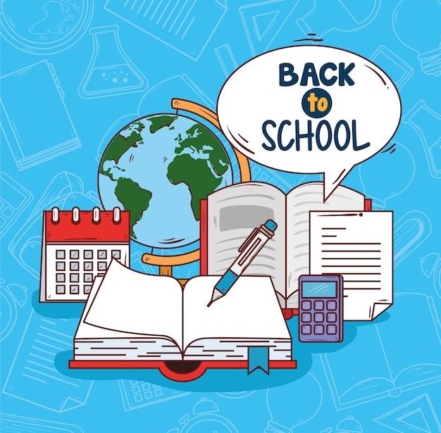 Di nuovo a scuola con il libro aperto, progettazione dell'illustrazione di vettore di istruzione