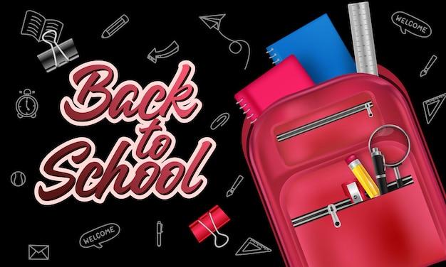 Ritorno a scuola con oggetti ed elementi della scuola di sfondo e poster per il ritorno a scuola