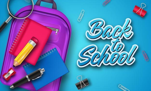 Ritorno a scuola con oggetti ed elementi scolastici