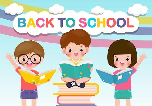 Torna a scuola con i bambini della scuola che leggono il concetto di educazione del libro.