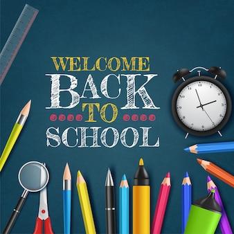 Ritorno a scuola con materiale scolastico