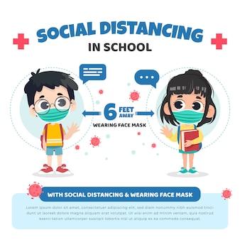 Ritorno a scuola con il concetto di distanza sociale