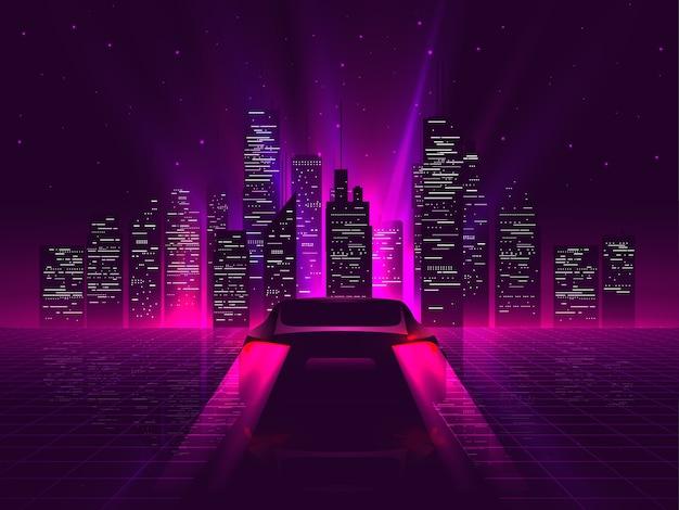 Sagoma di auto sportiva lato posteriore con luci posteriori rosse incandescenti al neon che guidano ad alta velocità di notte con il paesaggio urbano sullo sfondo outrun o vaporwave estetica futuristica retrò.