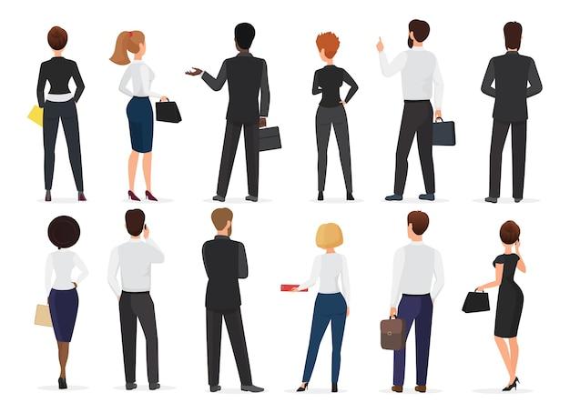 Vista posteriore del gruppo di uomini e donne di persone in ufficio affari