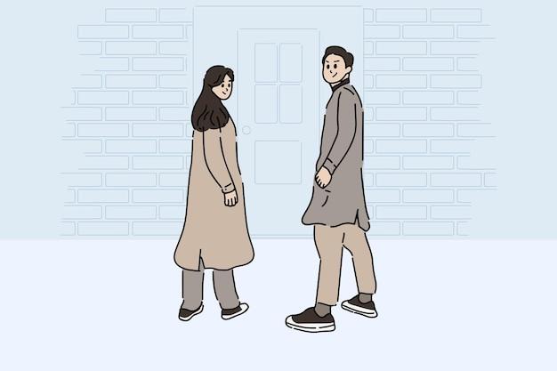 Vista posteriore di una coppia posa davanti alla porta. illustrazione di vettore di stile disegnato a mano di giovane coppia felice