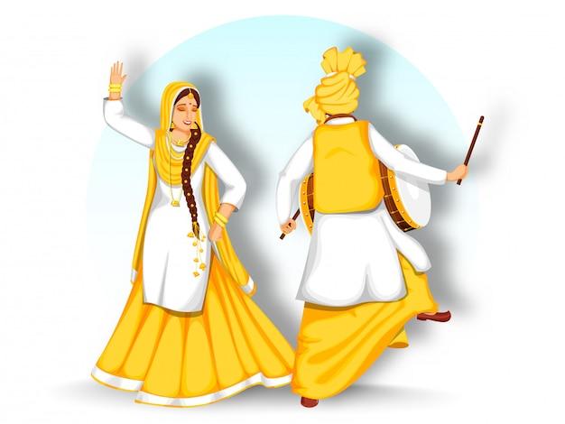 Punto di vista posteriore dell'uomo punjabi che gioca dhol (tamburo) e donna che eseguono ballo di bhangra su fondo bianco.