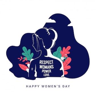 Siluetta posteriore di vista del fronte della donna con il testo e le foglie del messaggio su fondo blu e bianco per il concetto del giorno delle donne felici.