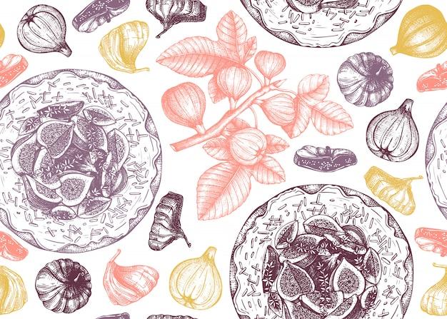 Sfondo con frutta di fico disegnata a mano. modello senza cuciture con rami di fico, frutta fresca e secca, torte da forno. sfondo vintage con elementi alimentari estivi. per menu o ricettario.