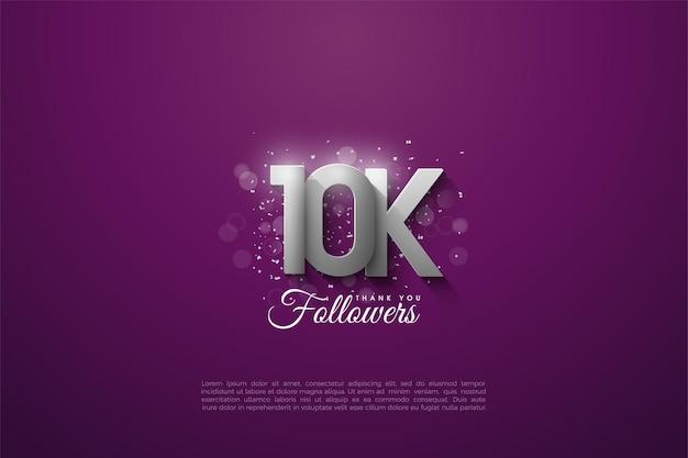 Sfondo per 10k follower con numeri d'argento sovrapposti.