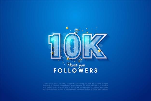 Sfondo per 10k follower con numeri bordati di bianco su sfondo blu.