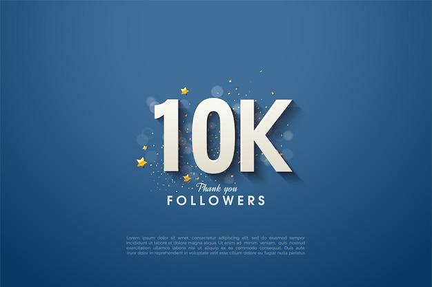 Sfondo per 10k follower con numeri bianchi su sfondo blu navy pulito.