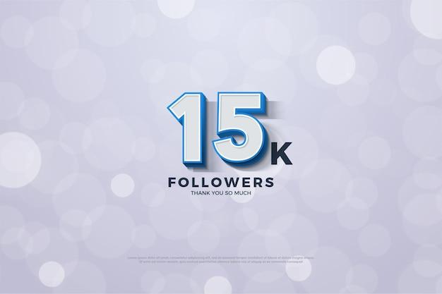 Sfondo per 15k follower con numeri di contorno blu in grassetto attorno ai bordi e in rilievo.