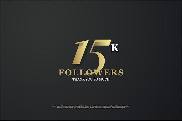 Sfondo per 15k follower con numeri univoci su sfondo nero.
