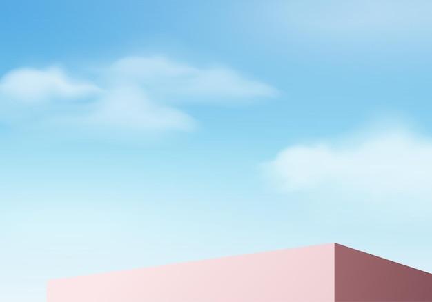 Rendering 3d di sfondo blu con podio e scena nuvola minima, visualizzazione minima del prodotto