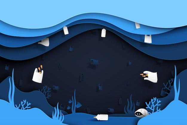 Sfondo di rifiuti e immondizia di prodotti in plastica sotto il mare.