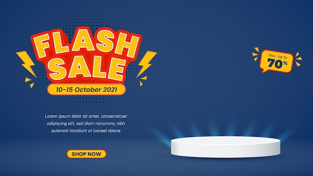 Banner di sfondo vendita flash con modello di post sui social media sul podio