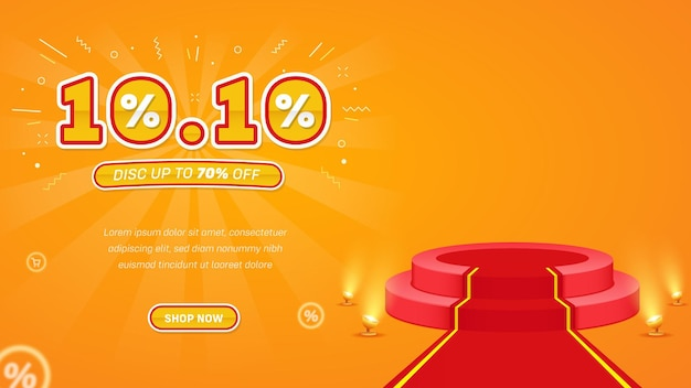 Banner di sfondo vendita flash realistica 1010 con podio