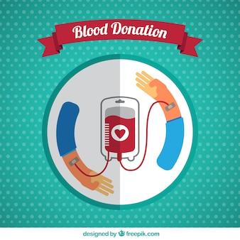 Sfondo di donazione di sangue in design piatto