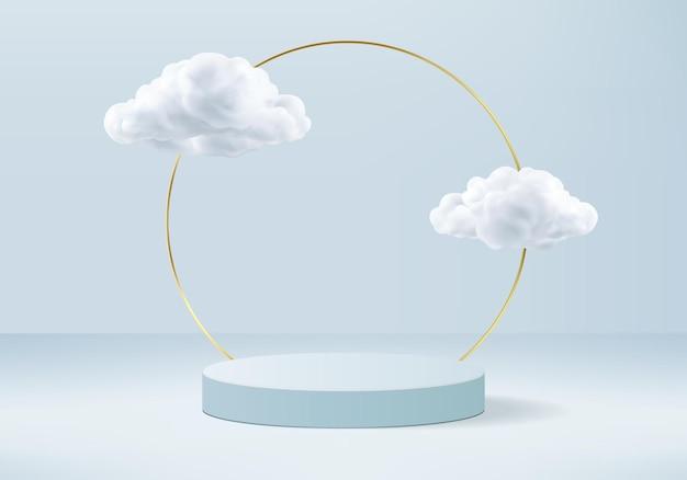 Rendering di sfondo blu con podio e scena nuvola minima, sfondo di visualizzazione prodotto minimo reso pastello blu nuvola cielo forma geometrica. fase di rendering del prodotto in piattaforma