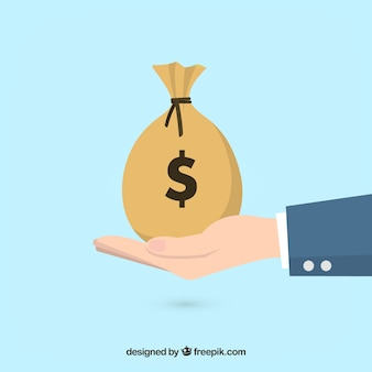 Sfondo di uomo d'affari con sacchetto di denaro Vettore Premium