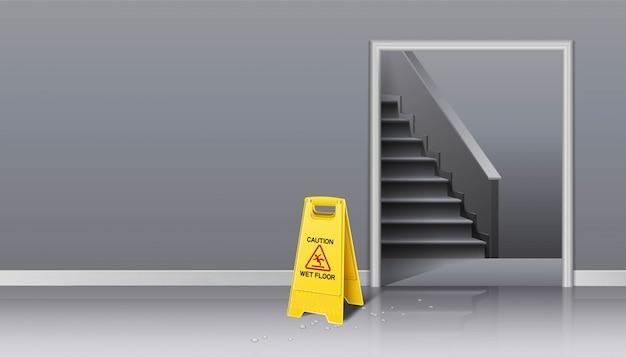 Sfondo di pulizia in corso ascensore hall e scala con cartello giallo attenzione bagnato e secchio d'acqua con una scopa.