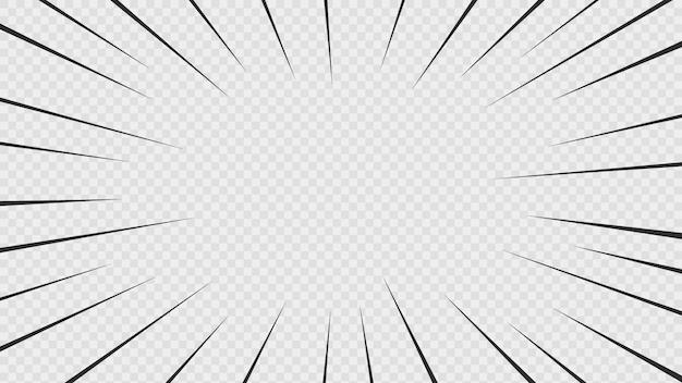 Sfondo di linee d'azione di fumetti. linee di velocità cornice manga isolato su sfondo trasparente.