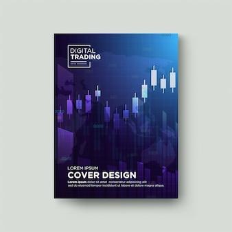 Trading con copertina di sfondo. con un'illustrazione grafica di un aumento di candela blu chiaro.