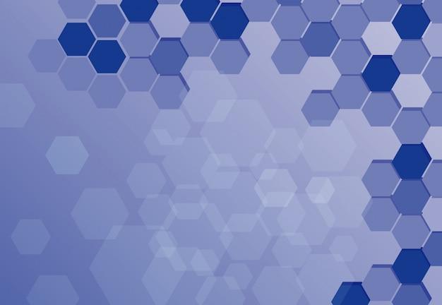 Disegno di sfondo con esagoni blu