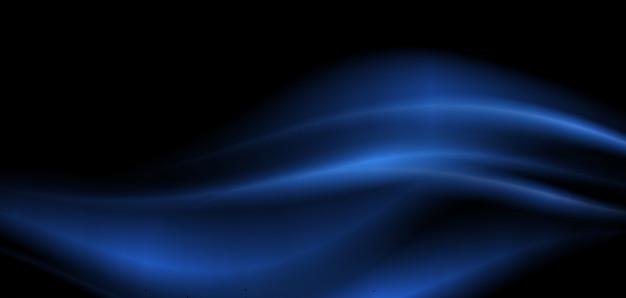 Disegno di sfondo con onde blu su sfondo nero