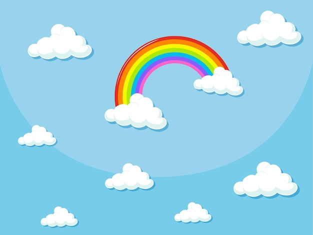 Disegno di sfondo con arcobaleno nel cielo