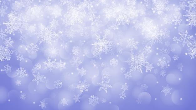 Sfondo di fiocchi di neve che cadono in colori viola con effetto bokeh