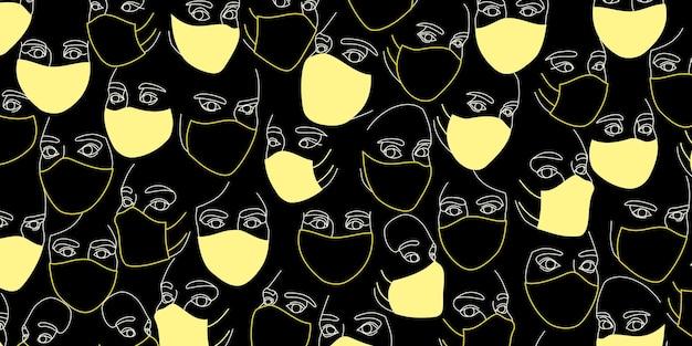 Sfondo di volti femminili in maschere mediche protettive disegnate con una linea continua. ritratti astratti minimalisti di belle donne. concetto di moda moderna. nei colori gialli su nero