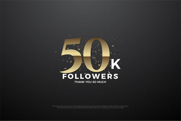 Sfondo per cinquantamila follower con numeri e schizzi di cioccolato