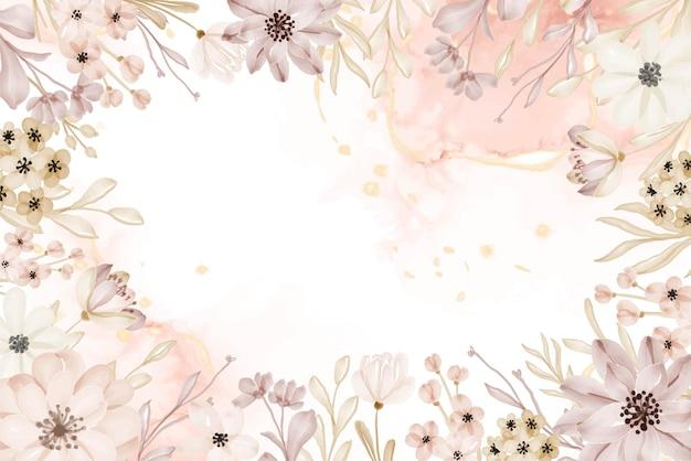 Sfondo floreale cornice fiore morbido acquerello