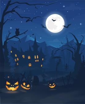 Nebbia di sfondo su sfondo luna piena con sagome di personaggi spaventosi zucca zombie mano