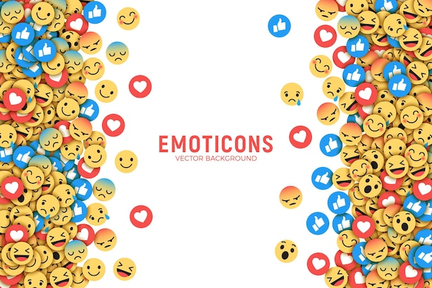 Cornice di sfondo con social media emoji