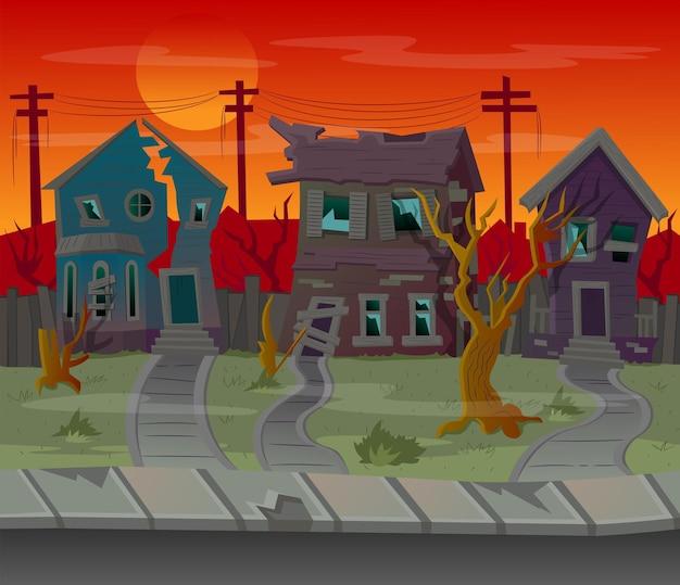 Sfondo per i giochi. strada dei cartoni animati con case abbandonate. illustrazione vettoriale