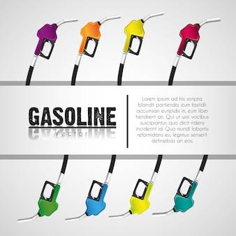 Banda delle pompe di gas del fondo su bianco per testo
