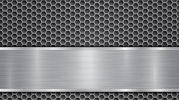 Sfondo in colori grigi, costituito da una superficie metallica perforata con fori e da una lastra lucida con struttura metallica, riflessi e bordi lucidi