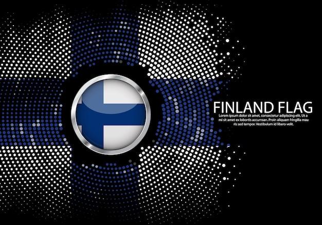 Modello di sfumatura mezzitoni sfondo della bandiera della finlandia. Vettore Premium