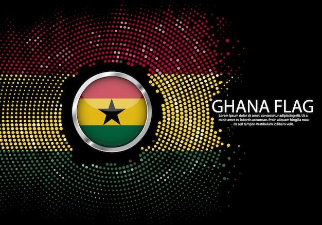 Modello di gradiente di mezzitoni sfondo della bandiera del ghana.
