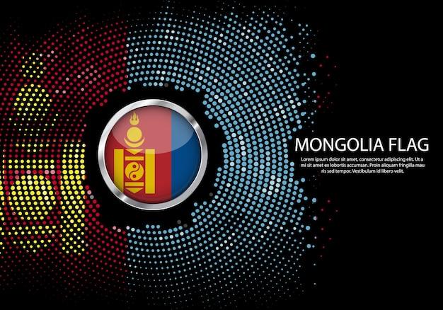 Modello di sfumatura mezzitoni sfondo della bandiera della mongolia.