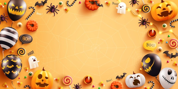 Sfondo per halloween con palloncini fantasma di halloween e zuccapalloncini ad aria spaventosi hal