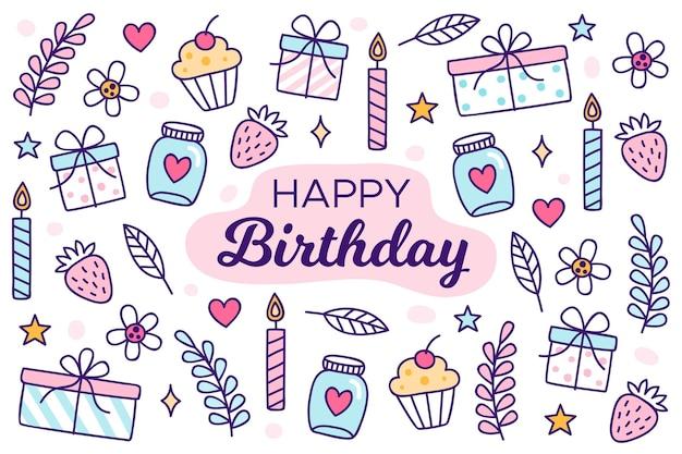 Sfondo di festa di compleanno disegnati a mano con candele