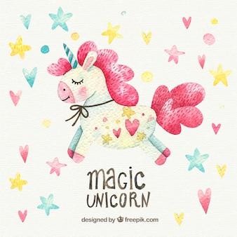 Sfondo di cuori e stelle con bella unicorno acquerello