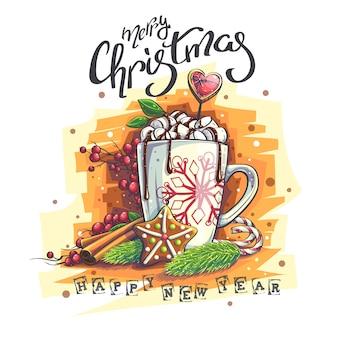 Illustrazione di sfondo happy new year marry christmas. una tazza con marshmallow e cioccolata calda, sorbo, cannella, biscotti, rami di un albero di natale.